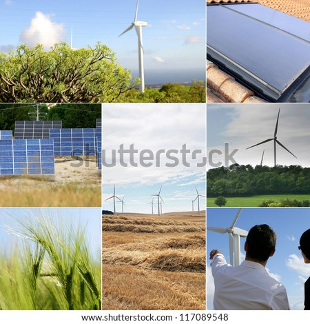Solar panels and windmills - stock photo