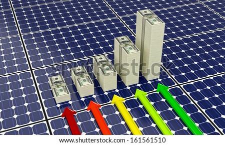 Solar Panels - Bar Graphs made from 100 dollar bills - stock photo