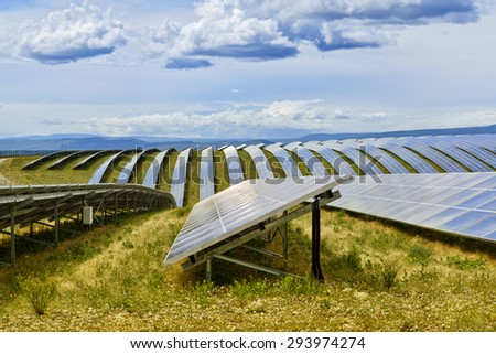 Solar panels field on a plateau in France