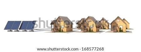 Solar panels for house - stock photo