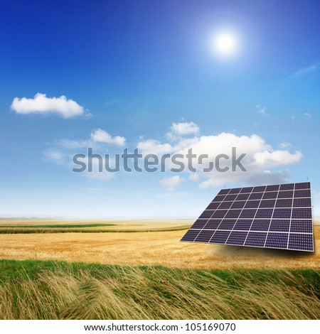 Solar panels generate electricity on a sunny day - stock photo
