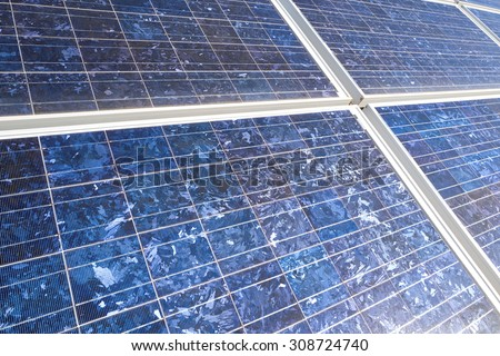 Solar Panels generating power - stock photo