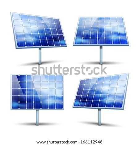 Solar panels illustration isolated on white - stock photo