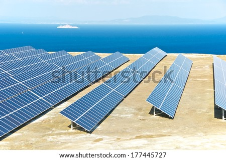 Solar panels in an ancient quarry of the ancient Romans, Elba Island, Italy
