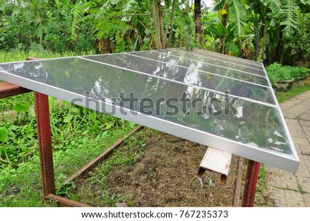 Solar Panels In Modern Farm Technology Concept Soft Focus