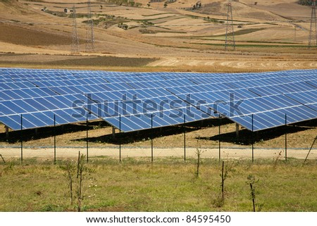 Solar panels in Sicily. On the road to Agrigento - stock photo