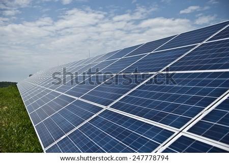Solar panels in solar power station /Solar panels/ - stock photo