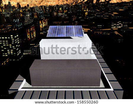 Solar panels in the city - stock photo
