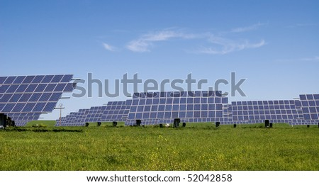 Solar panels in the field in Spain