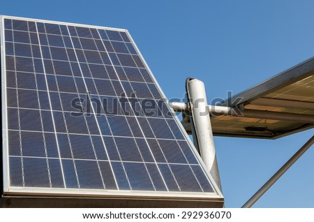 Solar panels in the park at Ayutthaya Thailand. - stock photo