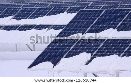 solar panels in winter - stock photo