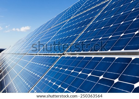 Solar panels installation - stock photo