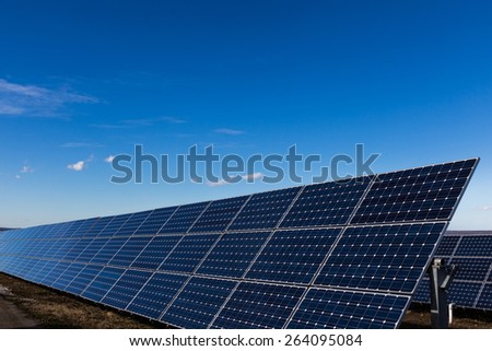 Solar panels installation and blue sky
