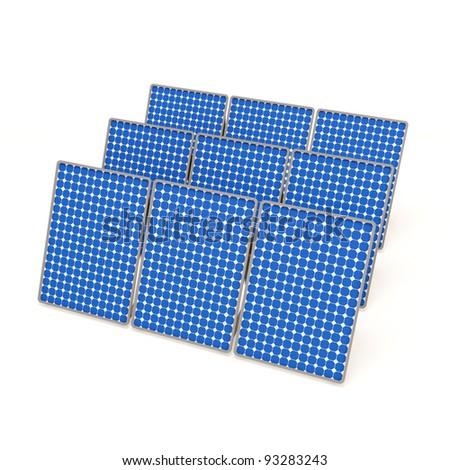 Solar Panels isolated on white background - stock photo