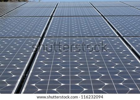 Solar Panels & Mountains - stock photo