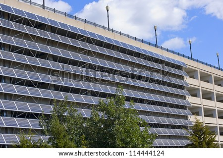 Solar panels mounted on exterior wall of parking garage in Saint Paul Minnesota - stock photo