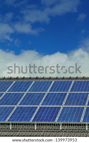 Solar Panels on a Family House Roof