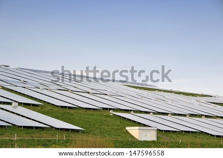 Solar panels on a former garbage dump in Magdeburg - stock photo