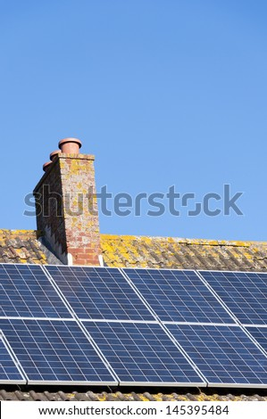 Solar panels on a house roof. - stock photo