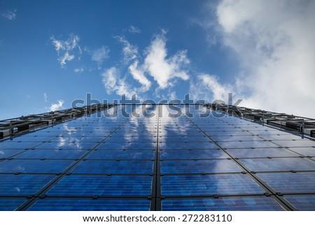 solar panels on building  - stock photo