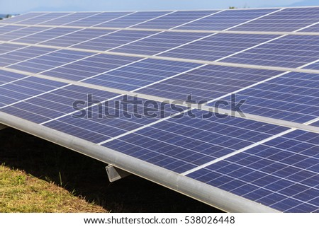Solar panels on green field, Solar power station