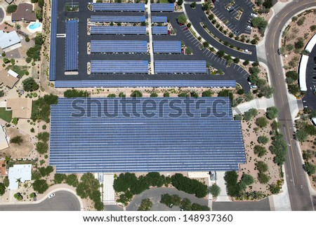 Solar panels on parking structures as viewed from overhead - stock photo