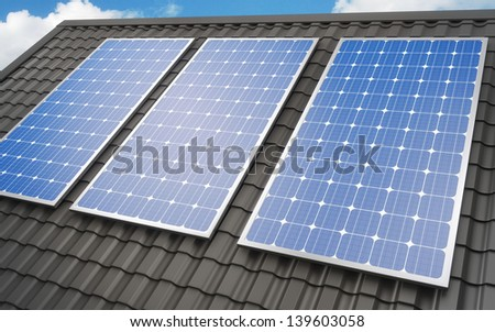 Solar panels on roof background - stock photo