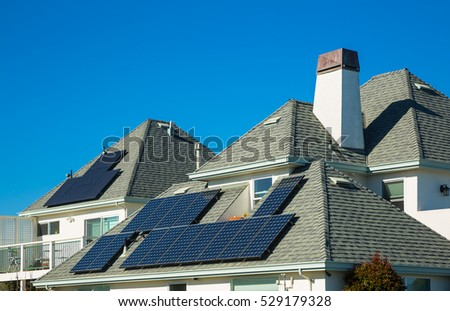 Solar panels on roof of residential houses