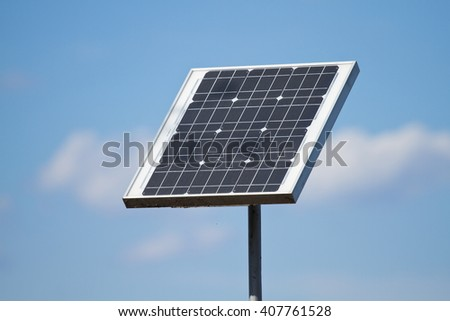Solar panels on the blue sky