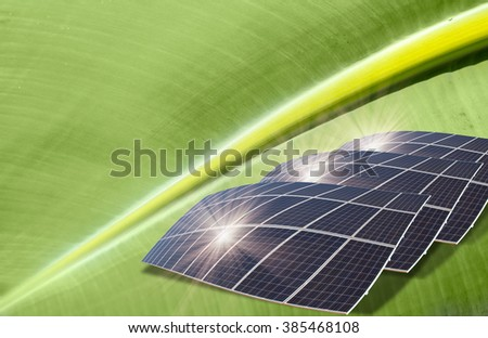 Solar panels on the leaf - Artificial photosynthesis concept - stock photo