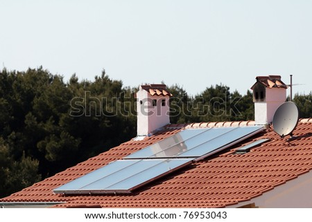 Solar panels on the roof - stock photo