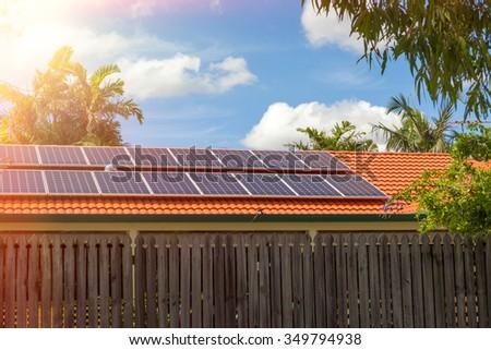 Solar panels on the roof, Australia - stock photo