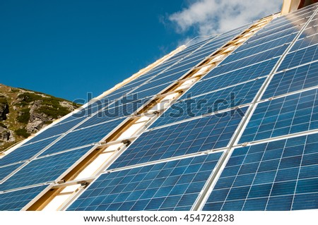 Solar panels on the roof of building