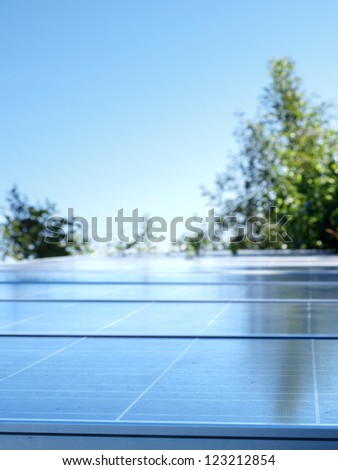 Solar panels on top of the hill in the jungle, Chiang Mai, Thailand. - stock photo