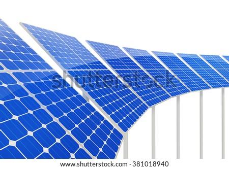 Solar panels on white background - stock photo