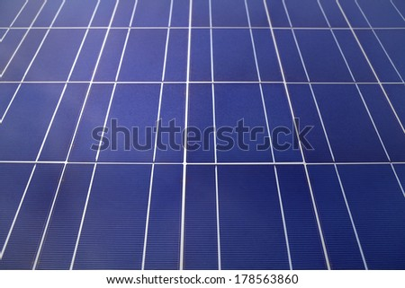 Solar panels or photovoltaics to generate solar energy. Selective focus. - stock photo