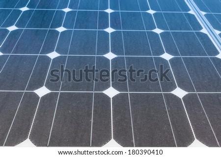 Solar Panels produce power, green energy concept - stock photo