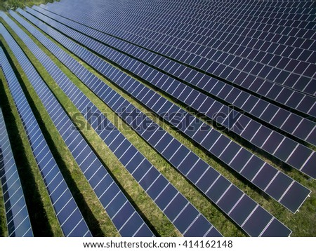 Solar panels producing green, environmentally friendly energy from the sun