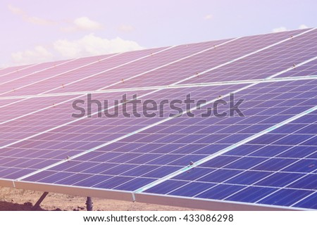 Solar Panels, solar power plant using renewable solar energy - stock photo