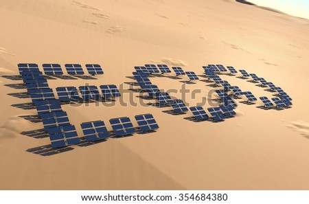 Solar panels spelling out eco text - stock photo