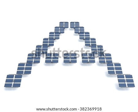 Solar panels spelling out the letter A - stock photo
