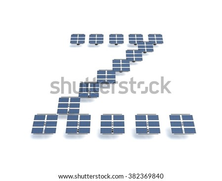 Solar panels spelling out the letter Z - stock photo