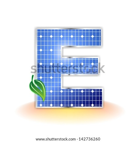 solar panels texture, alphabet capital letter E icon or symbol - stock photo