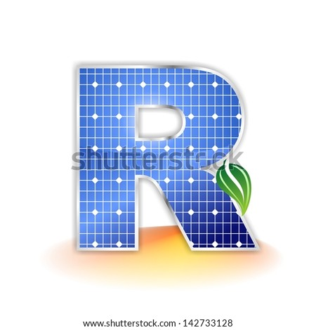 solar panels texture, alphabet capital letter R icon or symbol - stock photo
