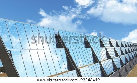 Solar Panels under cloudy blue sky 3D render - stock photo