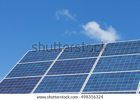 Solar panels with a blue sky