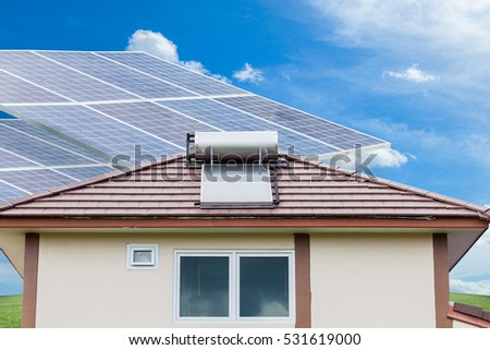 Solar panels with blue sky background,natural Energy