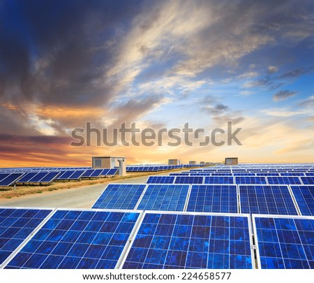 Solar panels with sunset's sky and road