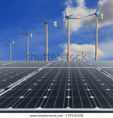 Solar panels with wind turbine  - stock photo