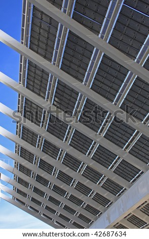 Solar panels work closely - stock photo